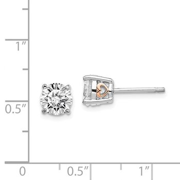 Cheryl M Sterling Silver & Rose Gold-plated Heart 6.5mm CZ Stud Earrings