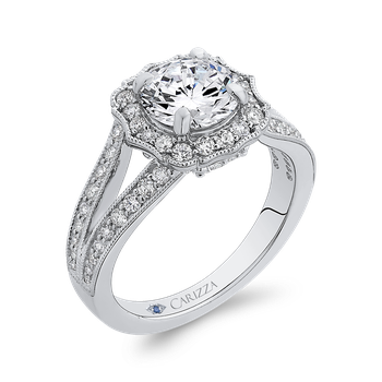 18K White Gold Round Cut Diamond Halo Engagement Ring with Split Shank (Semi-Mount)