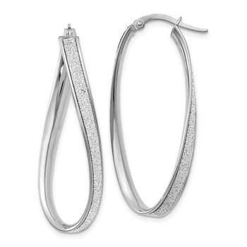 Leslie's 14k White Gold Polished Glimmer Infused Oval Hoop Earrings