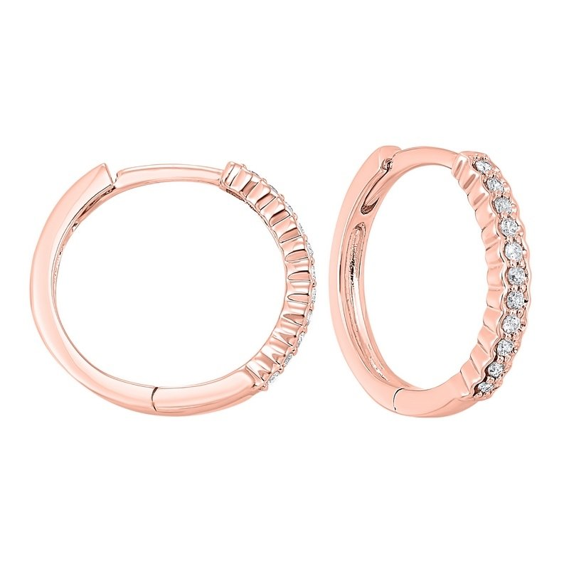 Gems One 14K Rose Gold Mixable Prong Diamond Earrings 1/7CT