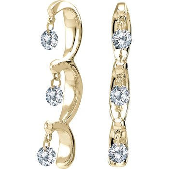 14K Yellow Gold .50 ct Dashing Diamonds Earrings