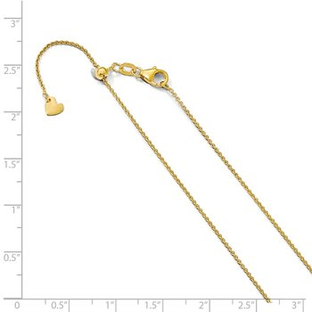 Leslie's 14K 1.1 mm Round Cable Adjustable Chain