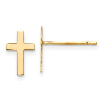 14k Polished Cross Earrings