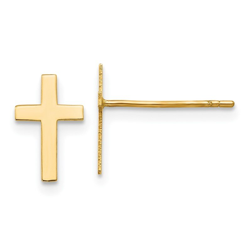 Quality Gold 14k Polished Cross Earrings