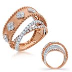 S. Kashi  & Sons White & Rose Gold Pave Ring