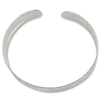 Sterling Silver Solid Polished Hammered Fancy Cuff Bangle Bracelet