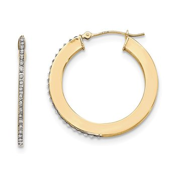 14k Yellow Gold Diamond Fascination Flat Round Hoop Earrings