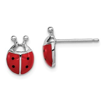 Sterling Silver Rhodium-plated Madi K Enamel Lady Bug Post Earrings