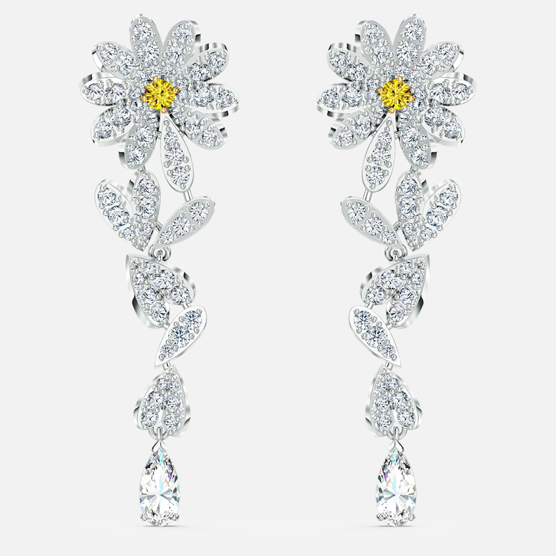 Swarovski Eternal Flower Pierced Earrings, Yellow, Mixed metal finish