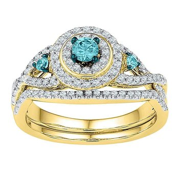 10kt Yellow Gold Womens Round Blue Color Enhanced Diamond Bridal Wedding Engagement Ring Band Set 5/8 Cttw