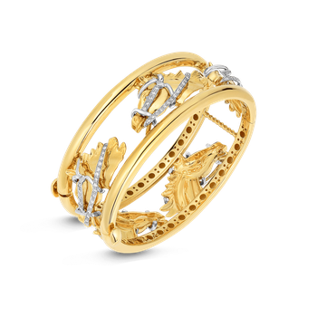 18KT GOLD WIDE CHEVAL BANGLE WITH DIAMONDS