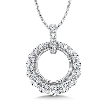 Open Diamond Round Pendant with Diamond Bale in 14K White Gold