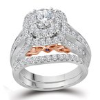 Bellissimo 14kt White Gold Womens Round Diamond Bellissimo Bridal Wedding Engagement Ring Band Set 2-1/20 Cttw