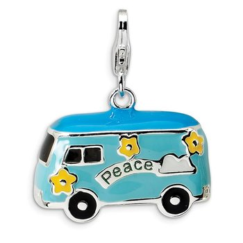 Sterling Silver 3-D Enameled Peace Bus w/Lobster Clasp Charm