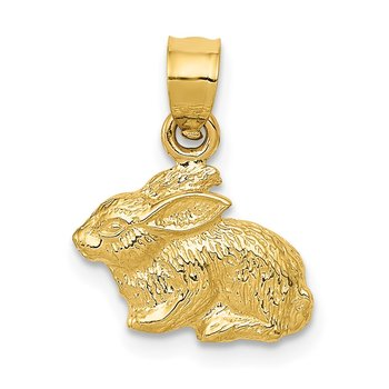 14k Polished Rabbit Pendant