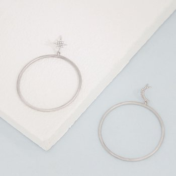 Pie In The Sky Sterling Silver Star Hoop Earrings