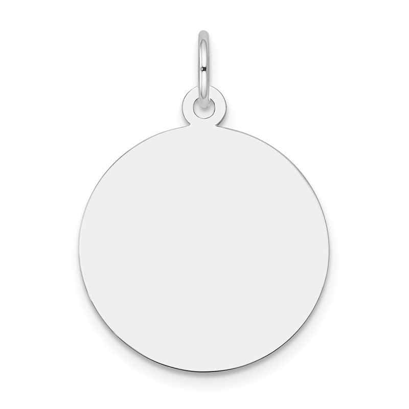 Quality Gold 14k White Gold Plain .018 Gauge Round Engravable Disc Charm