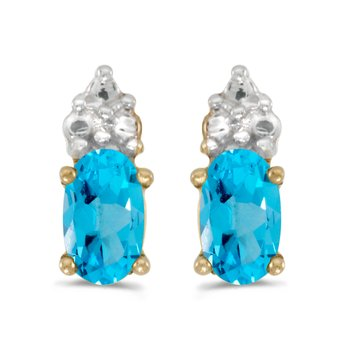 14k Yellow Gold Oval Blue Topaz Earrings
