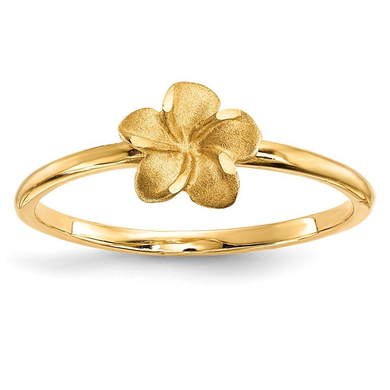 Quality Gold 14k Satin & Diamond-cut Plumeria Ring