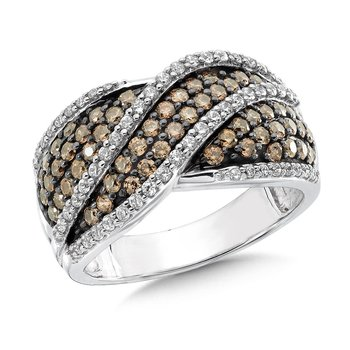 Pave set, Wave Design Cognac and White Diamond Fashion Ring in 10k White Gold (1.10 ct.tw.)