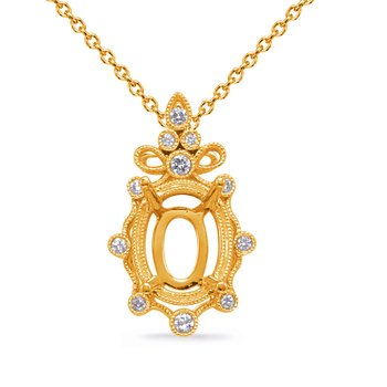 Yellow Gold Diamond Pendant 9x7mm Oval