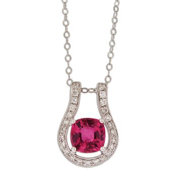 Pink Spinel & Diamond Slide Pendant