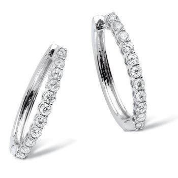 Pave set Diamond Oval Hoops in 14k White Gold (1/4 ct. tw.) GH/SI1-SI2