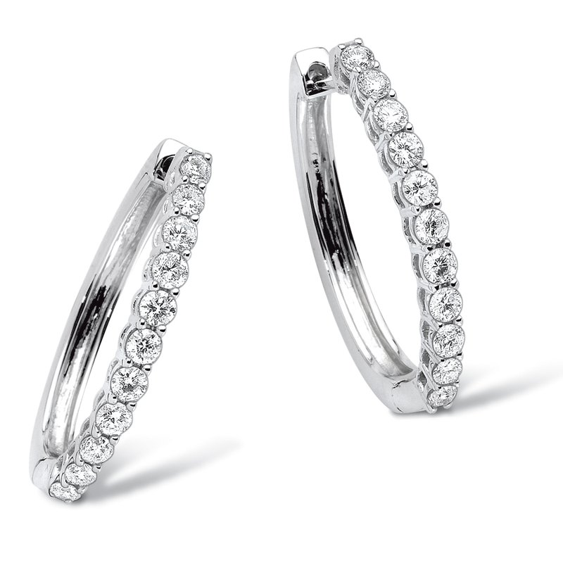 SDC Creations Pave set Diamond Oval Hoops in 14k White Gold (1/4 ct. tw.) GH/SI1-SI2