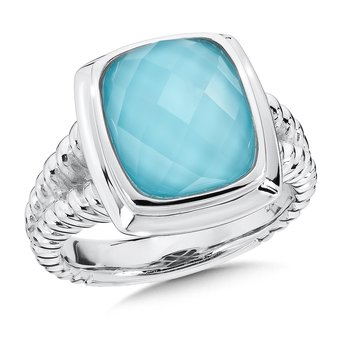 Sterling Silver Turquoise and White Quartz Fusion Ring