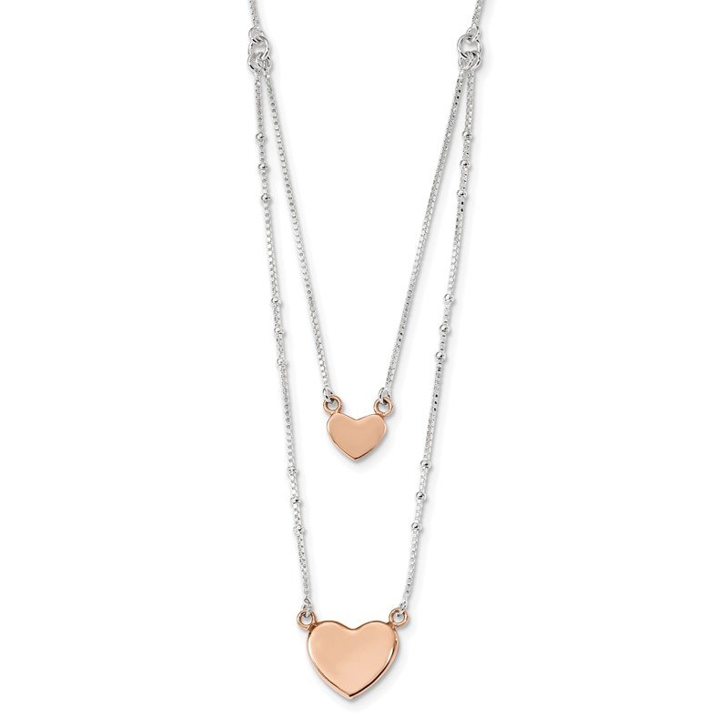 Quality Gold Sterling Silver Rose-tone 2-Strand Heart Dangle Necklace
