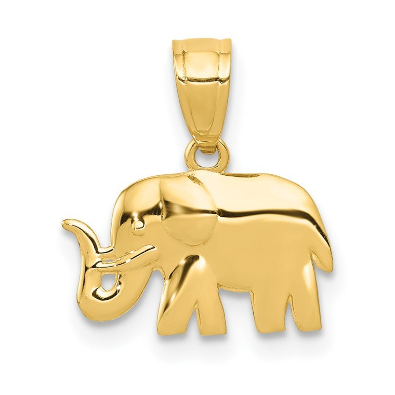 Quality Gold 14k Polished Elephant Pendant