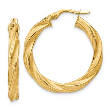 Leslie's 14k Polished Scratch-finish Twisted Hoop Earrings