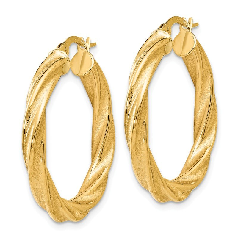 Leslie's Leslie's 14K Polished Scratch-finish Twisted Hoop Earrings