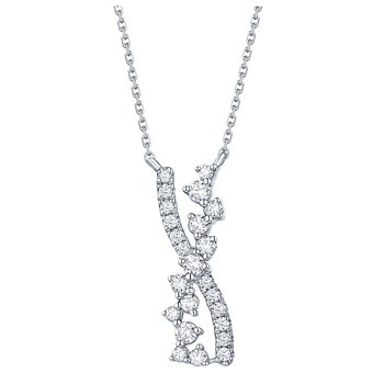 Smiling Rocks 0.38Ct G-H/VS1 Lab Grown Diamond Wave Bar Cross Over Necklace