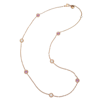 Cento and Pink Sapphire Station Necklace