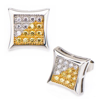 Clear & Yellow CZ in Square Kite Hip Hop Stud Earrings