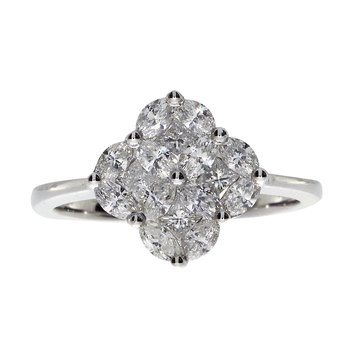 14k Clover Cluster Diamond Ring