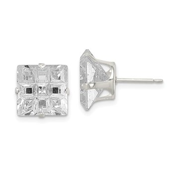 Sterling Silver 10mm Square Snap Set Laser-cut CZ Stud Earrings