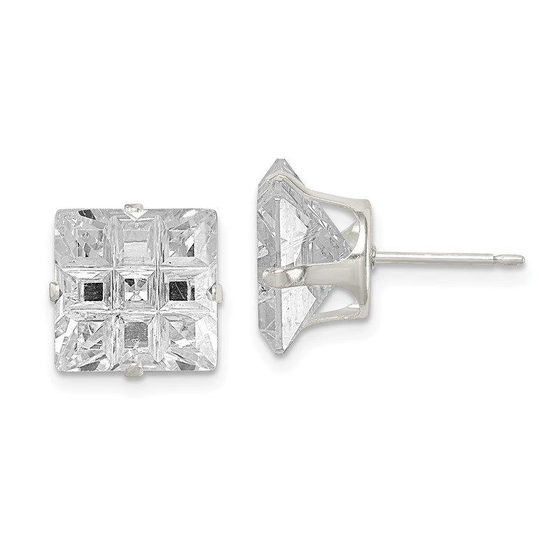 Quality Gold Sterling Silver 10mm Square Snap Set Laser-cut CZ Stud Earrings