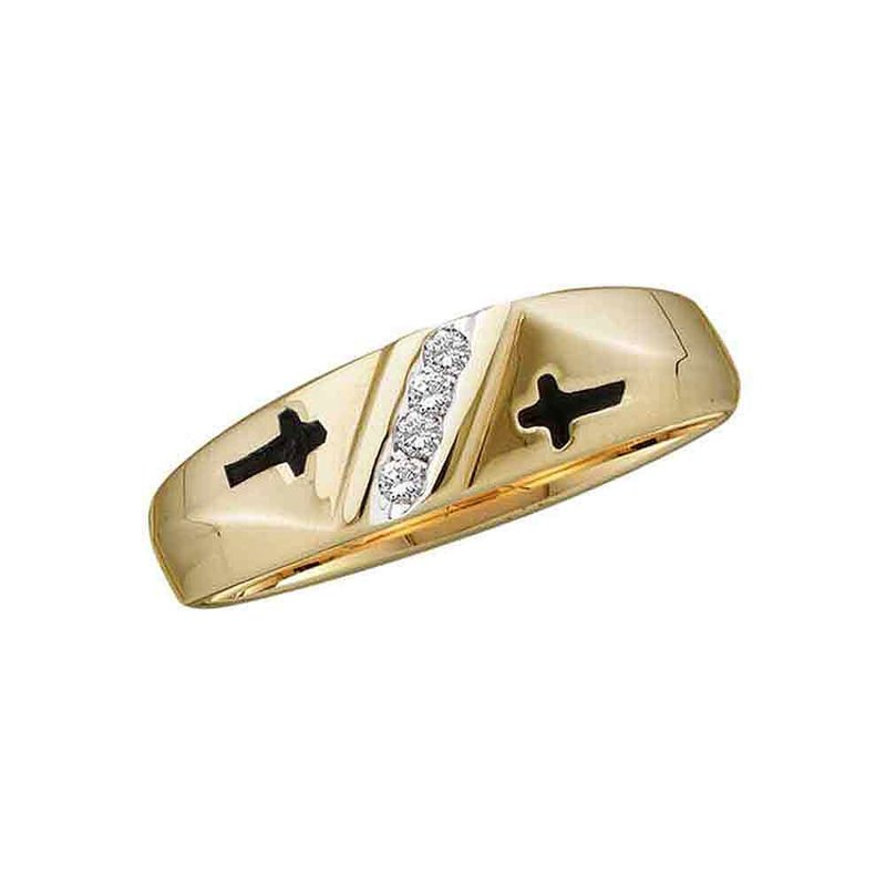 Kingdom Treasures 14kt Yellow Gold Mens Round Diamond Double Cross Wedding Band Ring 1/20 Cttw