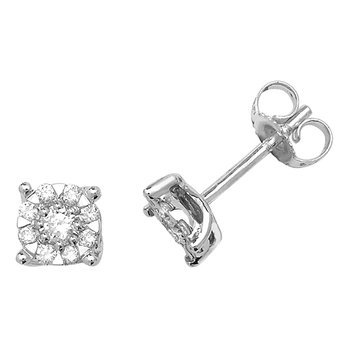 9Ct White Gold 2X5.8mm Diamond Stud Earrings