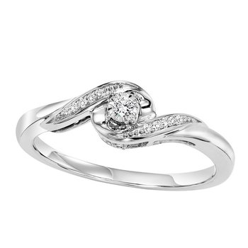 14K Diamond Engagement Ring 1/15 ctw Complete