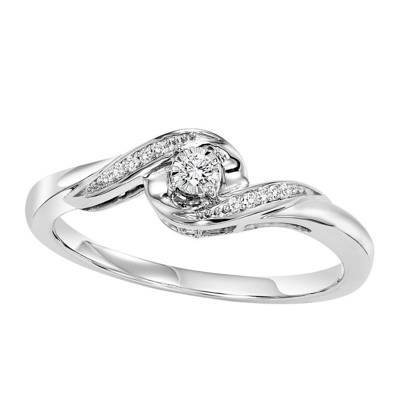 Bridal Bells 14K Diamond Engagement Ring 1/15 ctw Complete