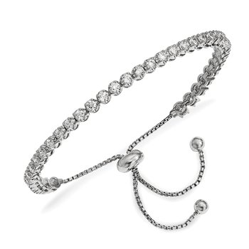 Sterling Silver Rhodium-plated CZ Adjustable Bracelet