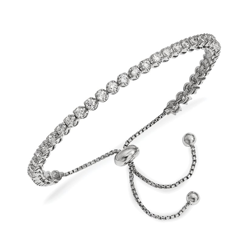 Fine Jewelry by JBD Sterling Silver Rhodium-plated CZ Adjustable Bracelet