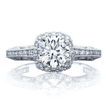 Reverse Crescent Cushion Bloom Engagement Ring