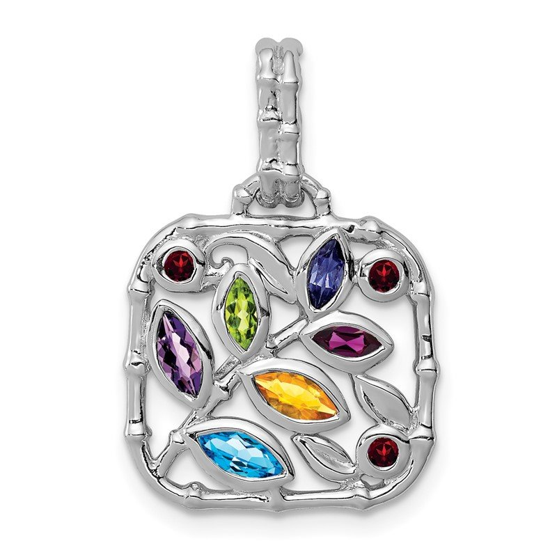 Quality Gold Sterling Silver Rhodium-plated Multi Gemstone Pendant