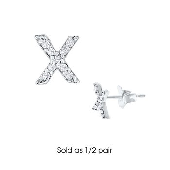 "Diamond Single Initial ""X"" Stud Earring (1/2 pair)"