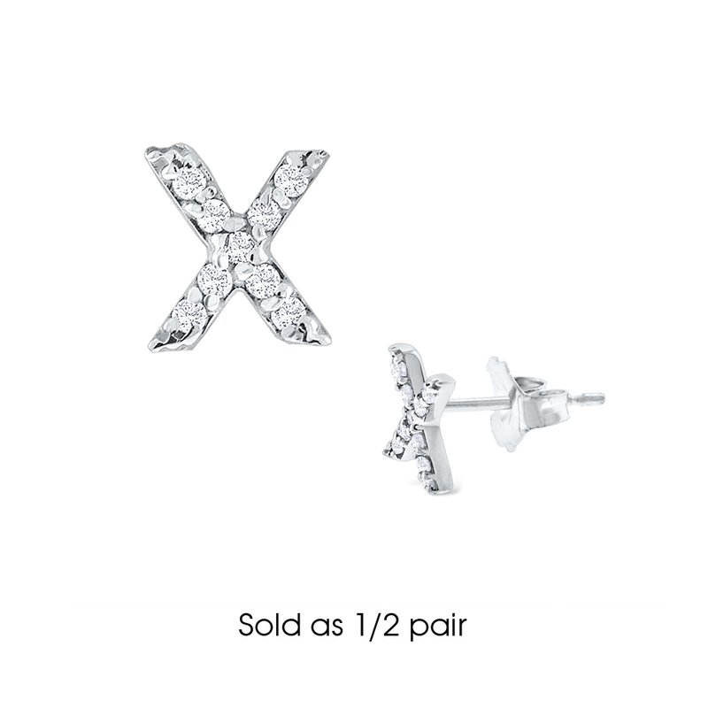 "KC Designs Diamond Single Initial ""X"" Stud Earring (1/2 pair)"
