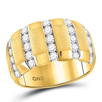 14kt Yellow Gold Mens Round Diamond Striped Matte Wedding Band Ring 1-1/2 Cttw